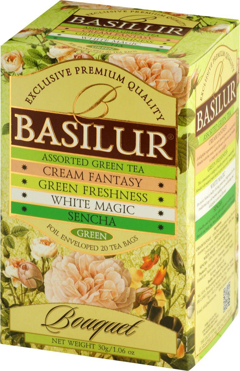 Basilur Assorted Bouquet зеленый чай в пакетиках, 20 шт70197-00Basilur Assorted Bouquet - коллекция, состоящая из различных сортов зеленого чая в пакетиках. Состав: Кремовая фантазия - зеленый цейлонский мелколистовой чай с ароматами клубники и ванили; Зеленая свежесть - зеленый цейлонский мелколистовой чай с перечной мятой; Белое волшебство - зеленый китайский чай с молочным ароматом; Сенча - зеленый мелколистовой цейлонский чай Сенча.