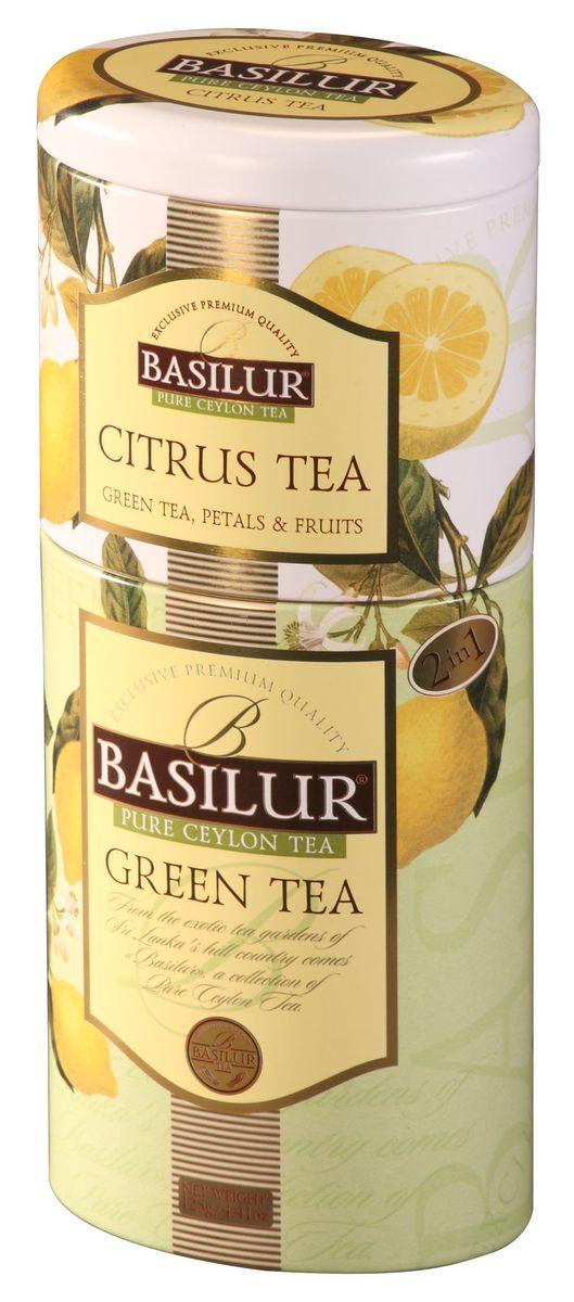Basilur Green Tea - Citrus Tea зеленый листовой чай, 125 г (жестяная банка)70238-00Зелёный цейлонский байховый листовой чай Basilur Citrus Tea с кусочками папайи и ананаса, лепестками календулы, розы и ароматом лимона прекрасно освежит и напомнит о лете. Подарочная упаковка несомненно станет украшением вашего дома!