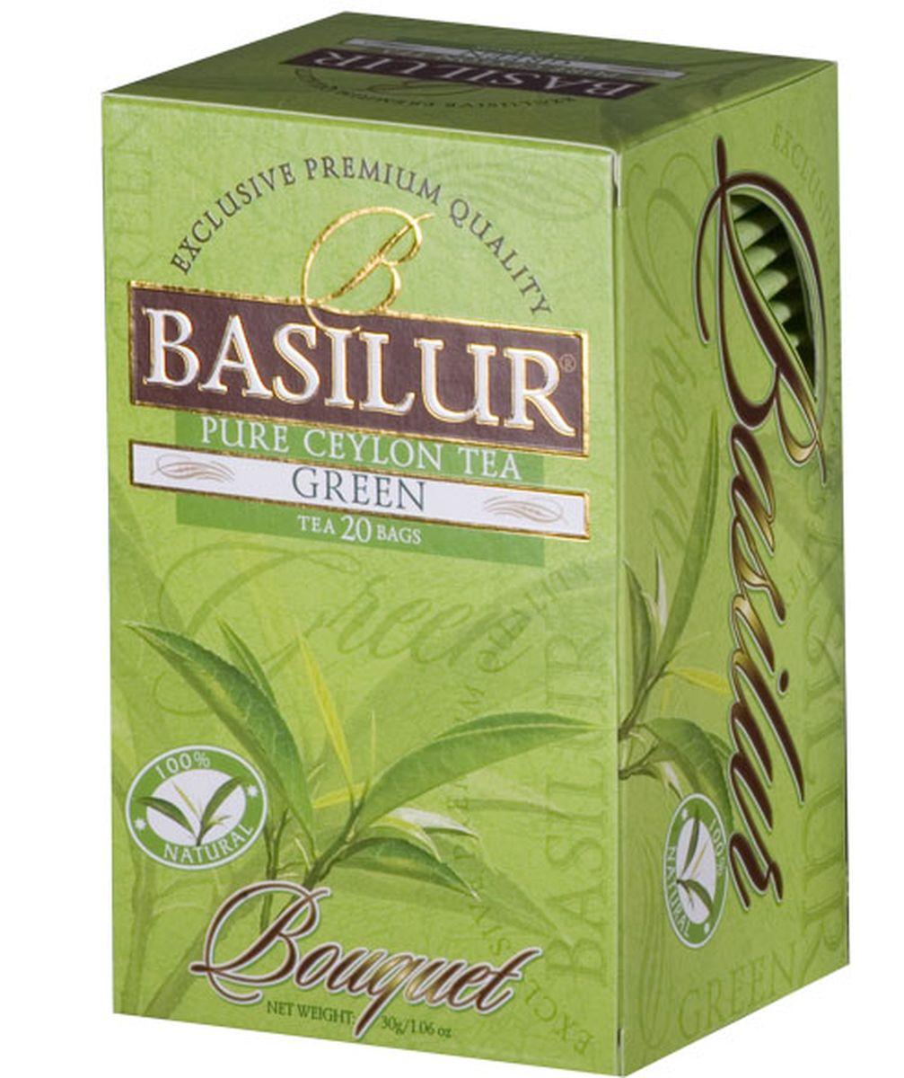 Basilur Pure Green Sencha зеленый чай в пакетиках, 20 шт70216-00Чай зелёный цейлонский байховый мелколистовой Basilur Sencha в пакетиках с ярлычками для разовой заварки. Сенча сочетает в себе лучшие полезные свойства зелёного чая и легкость изысканного аромата, естественную терпкость.