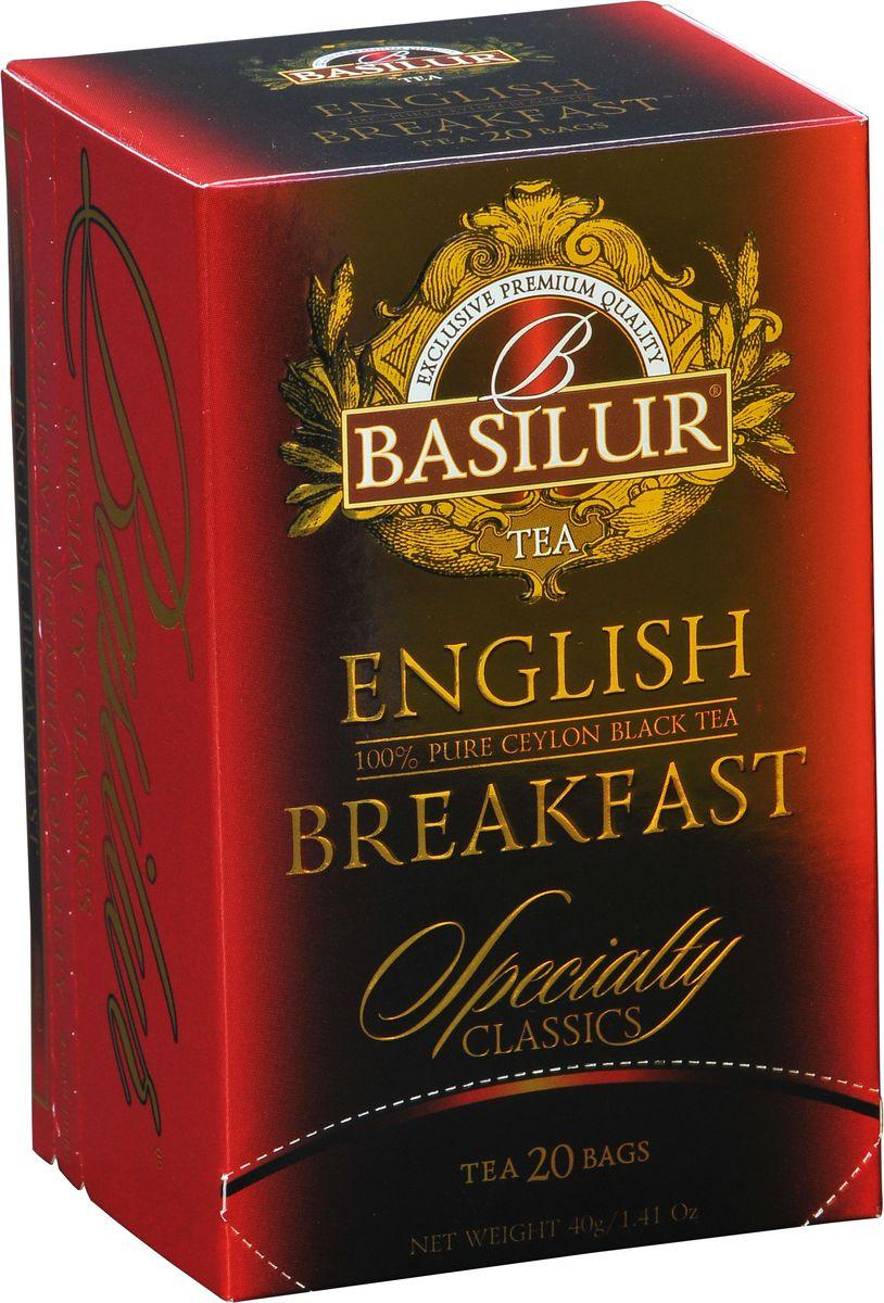 Basilur English Breakfast черный чай в пакетиках, 20 шт70184-00Basilur English Breakfast - черный байховый мелколистовой чай в пакетиках с ярлычками для разовой заварки. Насыщенный, крепкий и богатый вкус черного чая хорошо сочетается с молоком и сахаром, в стиле, который традиционно ассоциируется с настоящим английским завтраком.
