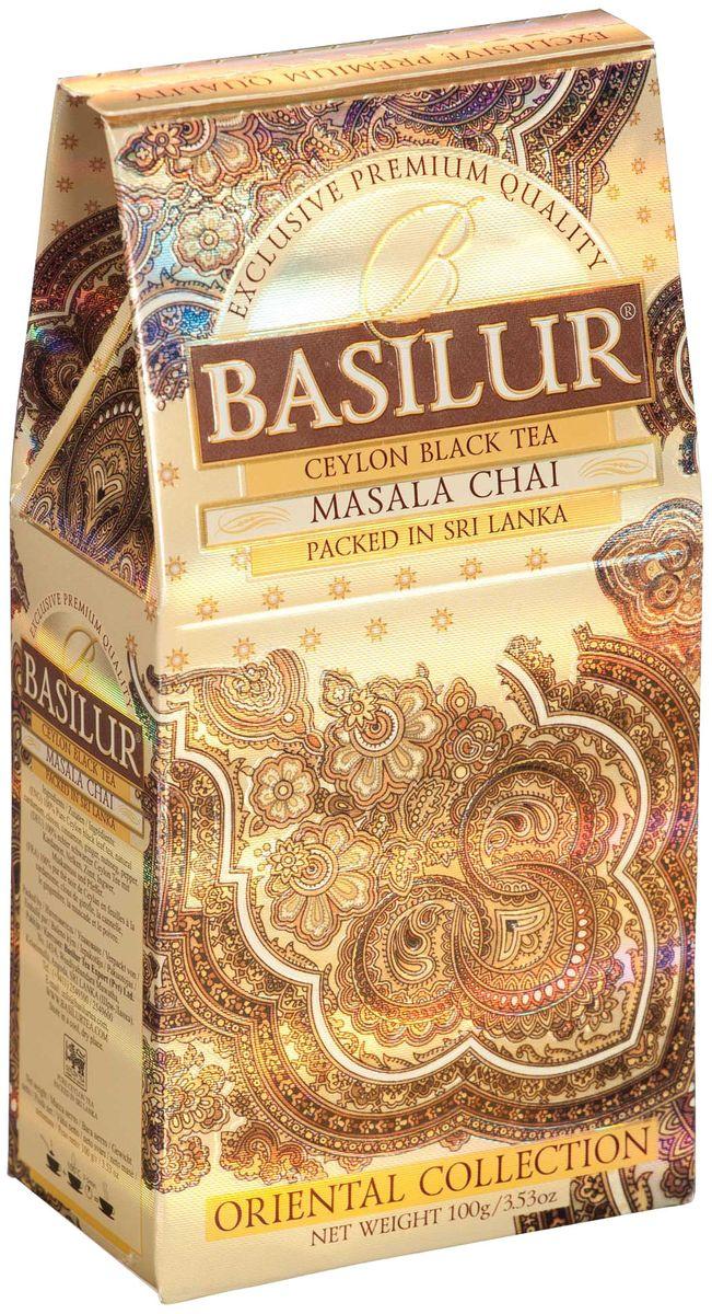Basilur Masala Chai черный листовой чай, 100 г70429-00Чай чёрный цейлонский байховый листовой Basilur Masala Chai с пряностями: кардамон, гвоздика, корица, имбирь, мускатный орех и перец. Традиционный индийский рецепт черного чая с натуральными пряностями - кардамоном, корицей, мускатным орехом и имбирем - познакомит вас с таинственным миром древнего Востока. Рекомендуется пить с молоком.