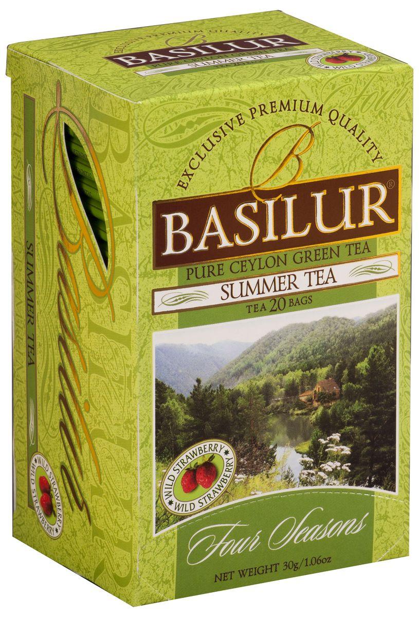 Basilur Summer Tea зеленый чай в пакетиках, 20 шт70393-00Basilur Summer Tea - зеленый байховый мелколистовой чай с ароматом земляники в пакетиках с ярлычками для разовой заварки. Лето - время расцвета всей природы, тепла и солнца, отпусков и каникул, цветочных полян и первых летних лесных ягод! Великолепный зелёный чай Сенча с нежными лепестками полевых цветов и ярким ароматом спелой земляники будет радовать вас всегда, напоминая это беззаботное время отдыха.