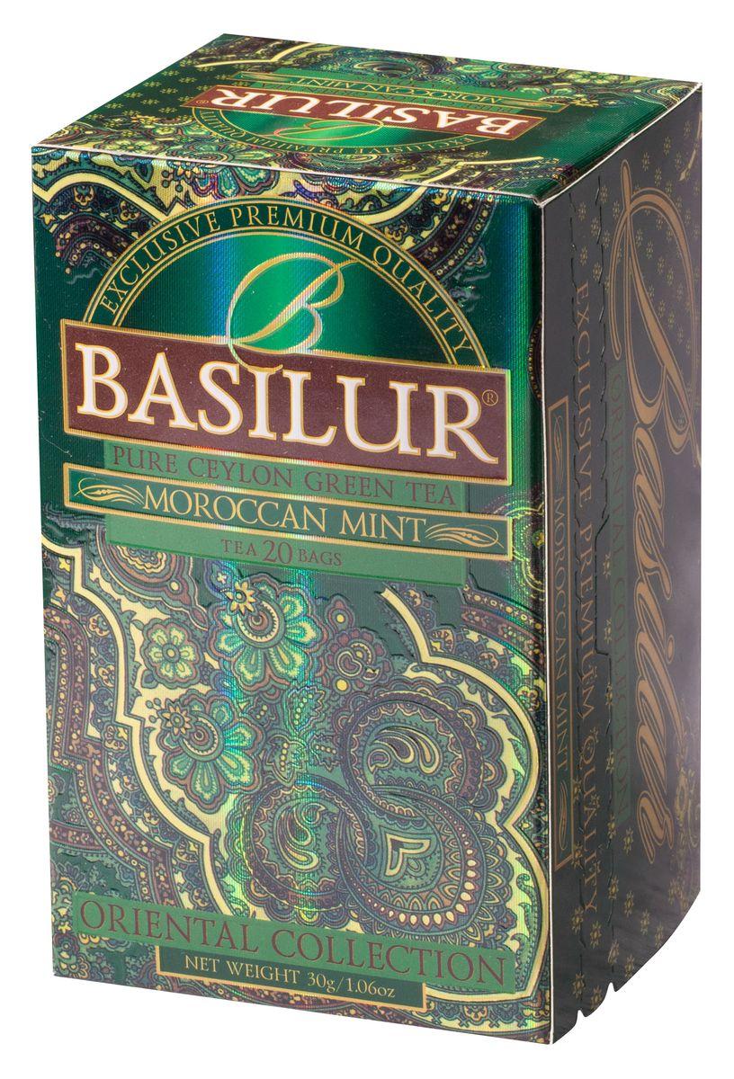Basilur Moroccan Mint зеленый чай в пакетиках, 20 шт70419-00Чай зелёный цейлонский байховый мелколистовой Basilur Moroccan Mint с листьями и ароматом марокканской мяты в пакетиках с ярлычками для разовой заварки. Очень популярный на Востоке зеленый чай с ароматом марокканской мяты подарит вам свежесть, бодрость и энергию на целый день.