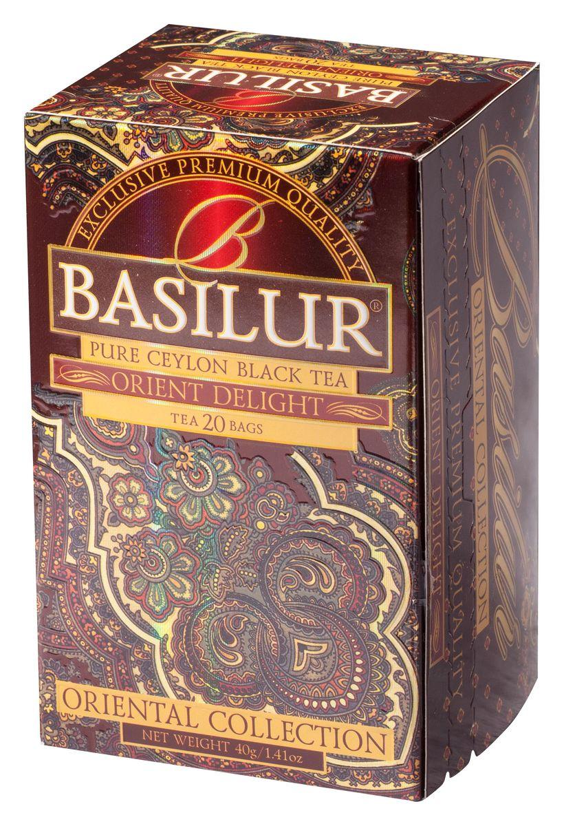 Basilur Orient Delight черный чай в пакетиках, 20 шт70420-00Чай чёрный цейлонский байховый мелколистовой Basilur Orient Delight с типсами в пакетиках с ярлычками для разовой заварки. Этот цейлонский чай сорта FBOP Extra Special с типсами (чайными почками) - для настоящих ценителей! Вас порадует насыщенный темно-красный настой и великолепный аромат с мягкой медовой нотой. Чайные почки - типсы - являются отличительным признаком высокого качества чая класса премиум. Два аккуратно скрученных листка и почка при заваривании создают неповторимый медовый аромат и тонкий нежный вкус чая, выращенного на горных склонах острова Цейлон.