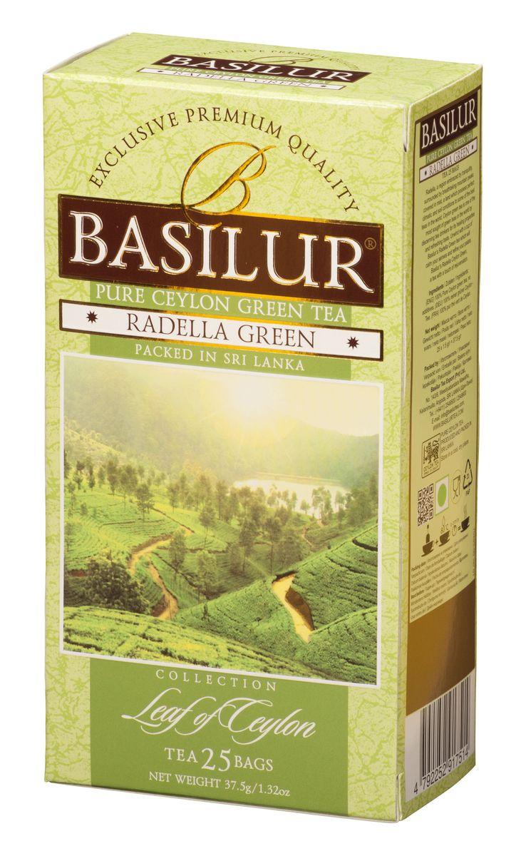 Basilur Radella зеленый чай в пакетиках, 25 шт70493-00Чай зелёный цейлонский байховый мелколистовой Basilur Radella в пакетиках с ярлычками для разовой заварки. Среди горных вершин, покрытых туманами расположена Radella. Место с идеальными климатическими и почвенными условиями для выращивания одного из лучших сортов чая в мире. Целебные свойства и освежающий вкус цейлонского чая удовлетворят даже самых взыскательных ценителей этого напитка. Чашка зеленого чая Basilur Radella с легким освежающим эффектом успокоит ваши чувства и поднимет настроение.