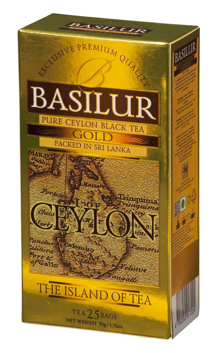 Basilur Gold черный чай в пакетиках, 25 шт70481-00Basilur Gold OP1 - черный байховый мелколистовой чай в пакетиках с ярлычками для разовой заварки. Orange Pekoe 1 - это высокий стандарт листового цейлонского чая, который сочетает в себе полноту вкуса с тонкими оттенками аромата. А благородный золотистый цвет его настоя делает напиток поистине драгоценным.