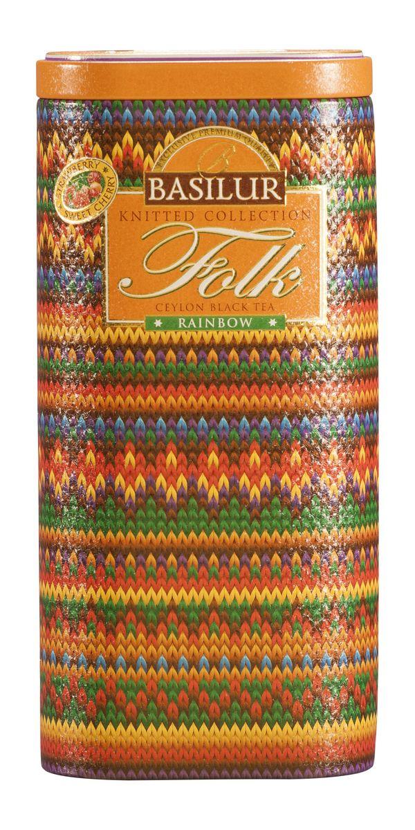 Basilur Folk Rainbow черный листовой чай, 100 г (жестяная банка)70537-00Basilur Folk Rainbow - черный цейлонский байховый листовой чай с вишней, лепестками сафлора, василька и календулы, а также ароматами клубники и вишни.