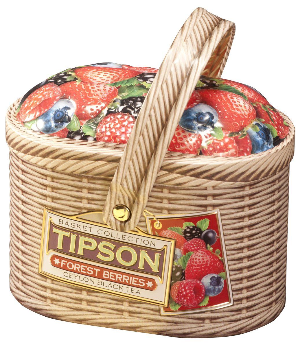 Tipson Forest Berries черный листовой чай, 100 г (жестяная банка)80054-00Чай чёрный цейлонский байховый листовой Tipson Forest Berries с кусочками клубники и яблока, лепестками василька и ароматами вишни и ванили.