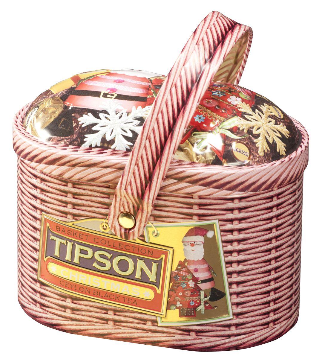 Tipson Christmas черный листовой чай, 100 г (жестяная банка)80060-00Чай чёрный цейлонский байховый листовой Tipson Christmas с кусочками вишни, лепестками амаранта и василька и ароматом ванили.