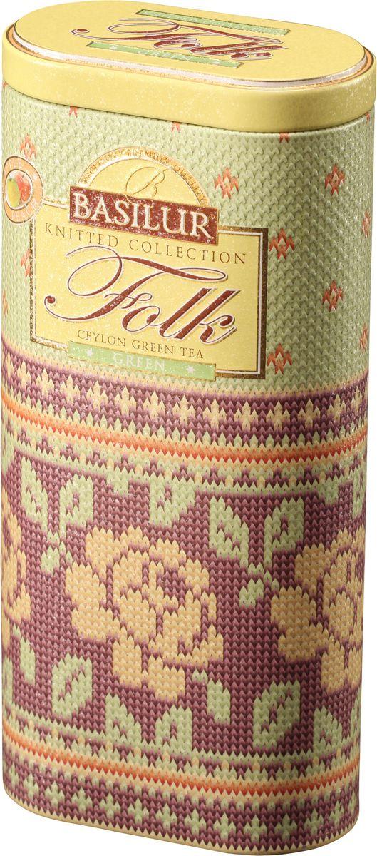 Basilur Folk Green зеленый листовой чай, 100 г (жестяная банка)70646-00Basilur Folk Green - зелёный цейлонский байховый листовой чай с яблоком, лепестками цветов и ароматами яблока и персика в красивой подарочной упаковке.