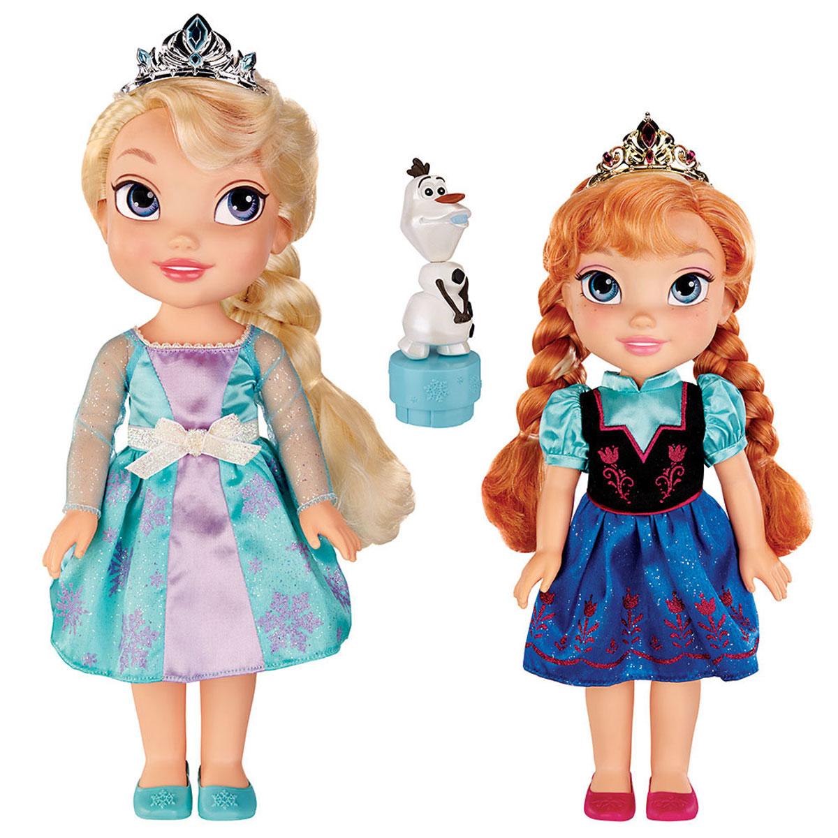 Disney Princess Игровой набор с мини-куклами Холодное cердце Эльза, Анна и Олаф310170Игровой набор Disney Frozen Холодное Сердце: Эльза, Анна и Олаф придется по душе каждой маленькой принцессе. В набор входят 2 очаровательные куклы - Эльза и Анна и их друг - веселый снеговик Олаф. Куклы одеты в прелестные платья с вышитыми рисунками, на ножках - туфельки. Головы Эльзы и Анны украшают изящные диадемы - как и положено настоящим принцессам! Волосы, заплетенные в косы, можно расчесывать. У куколок двигаются ручки, ножки и голова. Фигурка Олафа помещена на специальную подставку, при нажатии на которую снеговик забавно качает головой. Ваша малышка часами будет играть с набором, придумывая разные истории с героями любимого мультфильма. Порадуйте ее таким замечательным подарком!