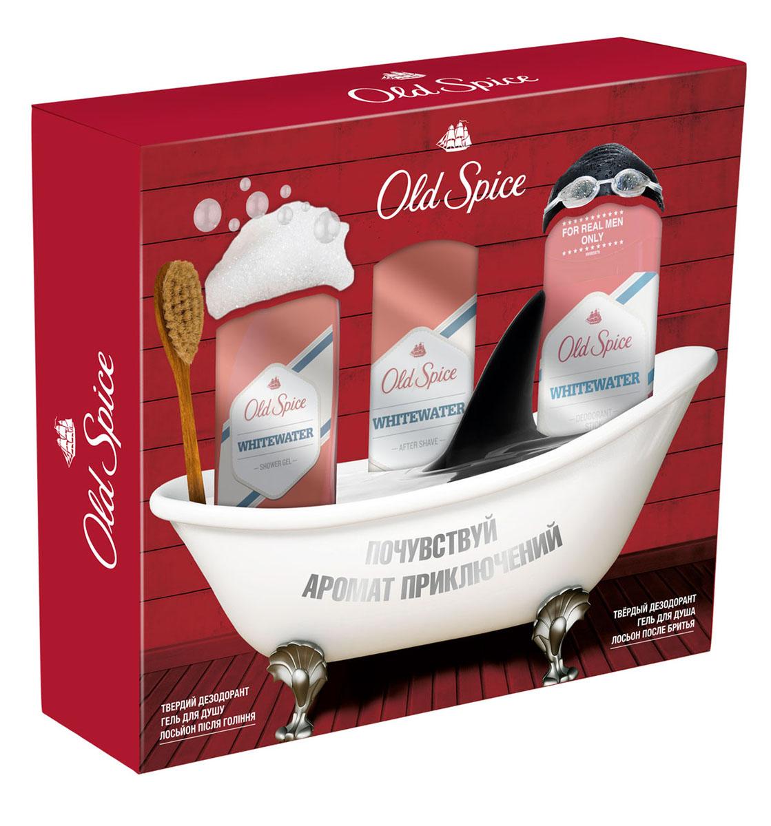 Old Spice Подарочный набор WHITEWATER: Твердый дезодорант 50мл + Гель для душа 250мл + Лосьон после бритья 100мл