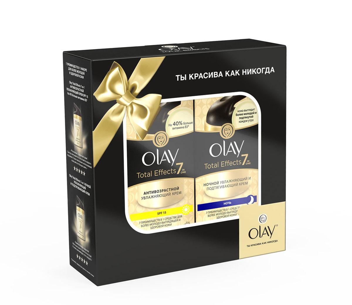 Olay Total Effects Подарочный набор антивозрастной увлажняющий крем SPF-15 (50 мл) + Olay Total Effects ночной увлажняющий и подтягивающий крем (50 мл)