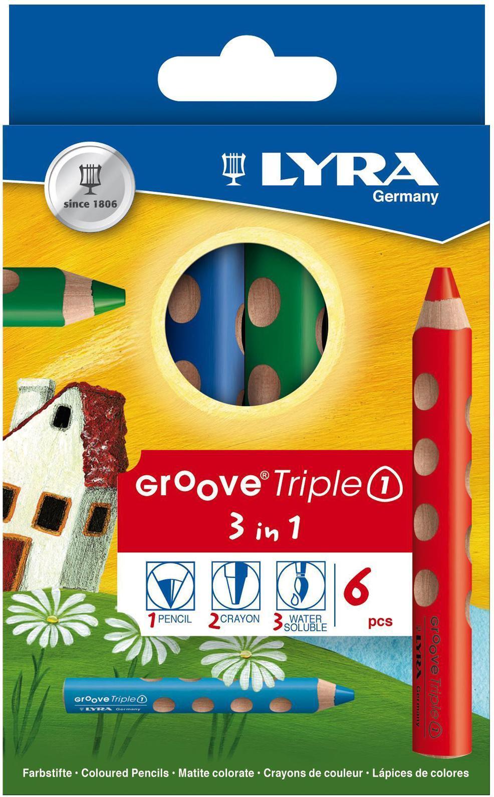 Набор карандашей Lyra 3 в 1 Triple One, 6 цветовL2821360Цветные карандаши 3 в 1 Lyra Triple One непременно, понравятся вашему юному художнику. Набор включает в себя 6 ярких насыщенных цветных карандаша 3 в 1: цветной карандаш, акварельный карандаш, восковый мелок. Имеют утолщенную треугольную форму с эргономичным захватом. Идеально подходит для раннего развития ребенка. Карандаши изготовлены из натурального сертифицированного дерева, экологически чистые. Имеют ударопрочный неломающийся высокопигментный грифель, не требующий сильного нажатия и легко затачиваются. Порадуйте своего ребенка таким восхитительным подарком! В комплекте: 6 карандашей 3 в 1.