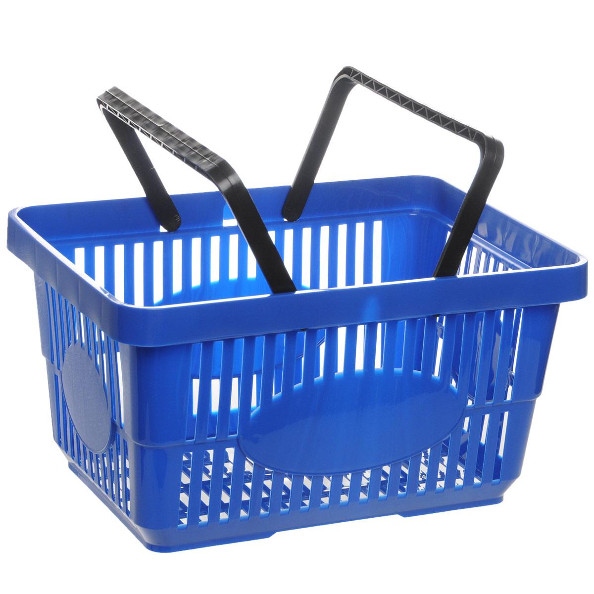 Корзина для покупок Альтернатива, цвет: синий, 42,5 х 30 х 22,5 смМ1280_синийКорзина для покупок Альтернатива изготовлена из прочного пластика и оснащена двумя ручками. Поверхность изделия перфорированная. Корзина предназначена для покупателей продуктовых и строительных гипермаркетов для переноски легких товаров по торговому залу. Также прекрасно подойдет для различных хозяйственных нужд, хранения и транспортировки бытовых предметов. Корзина очень легкая, прочная и не поддается коррозии.