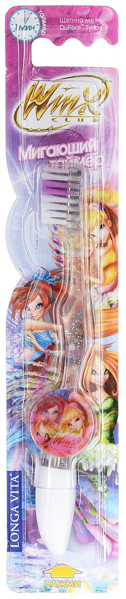Longa Vita Детская зубная щетка Winx, мягкая, с мигающим таймером от 3-х лет. Цвет: прозрачный