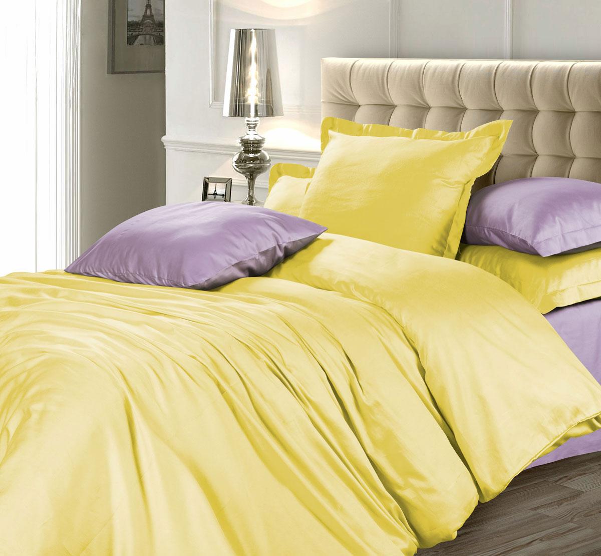 Комплект белья Unison Лимонный фреш, 1,5-спальный, наволочки 70х70, цвет: желтый, фиолетовый276763Роскошный комплект постельного белья Unison Лимонный фреш выполнен из натуральной ткани LUX Сатин (из 100% хлопка высшего качества). Комплект состоит из пододеяльника, простыни и двух наволочек. LUX Сатин - мягкий, износостойкий, нежный сатин с благородным шелковистым блеском. Он производится из крученой хлопковой нити по специальной технологии двойного плетения. У этой ткани нет равных по прочности и долговечности, белье из него выдерживает более 300 стирок, сохраняя при этом вид продукта экстра-класса.