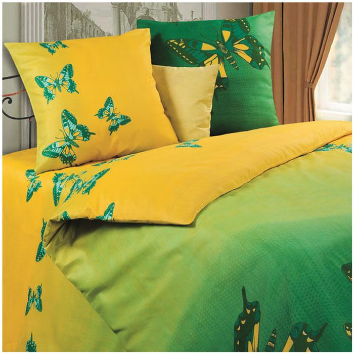 Комплект белья P&W Мгновение, 1,5-спальный, наволочки 69х69, цвет: зеленый, желтыйPW-7-143-145-69Комплект постельного белья P&W Мгновение выполнен из микрофибры. Комплект состоит из пододеяльника, простыни и двух наволочек. Постельное белье оформлено ярким красочным рисунком. Ткань приятная на ощупь, мягкая и нежная, при этом она прочная и хорошо сохраняет форму, легко гладится. Благодаря такому комплекту постельного белья вы сможете создать атмосферу роскоши и романтики в вашей спальне. В комплект входят: Пододеяльник - 1 шт. Размер: 143 см х 215 см. Простыня - 1 шт. Размер: 145 см х 214 см. Наволочка - 2 шт. Размер: 69 см х 69 см.