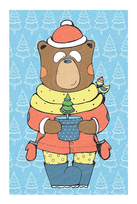 Открытка Christmas Bear. Автор: Анастасия МежаковаMA10-004