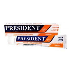 President Зубная паста Unique, 100 мл4310-502290President Unique зубная паста - это уникальное средство с системой кальция, которое рекомендуется всем живущим в регионе с повышенным содержанием фтора в воде. Особенности пасты President Unique: - контролируемая абразивность RDA 75 - аморфный и химически-инертный кремний обеспечивает эффективное и безопасное удаление зубного налета, предотвращает образование зубного камня. - средство можно применять каждый день, что отличает ее от прочих медицинских зубных паст, которые необходимо использовать только в течение определенного времени. - защита от бактерий, вызывающих кариес. - эффективно и бережно удаляет бактериальный налёт. - быстрое восстановление блеска, гладкости эмали, природной белизны зубов. - благотворно влияет на дёсны, предупреждает кровоточивость. - является богатым источником кальция и фосфатов. Объем 75 мл.