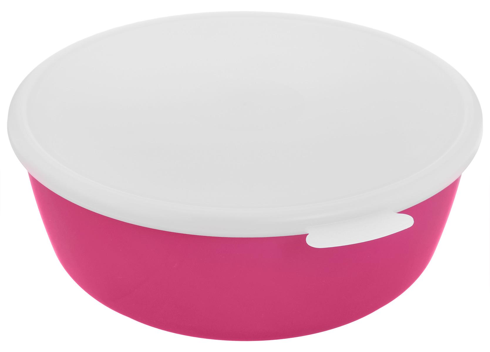 Миска Idea Прованс, с крышкой, цвет: малиновый, белый, 2,5 лМ 1382_малиновыйМиска круглой формы Idea Прованс изготовлена из высококачественного пищевого пластика. Изделие очень функциональное, оно пригодится на кухне для самых разнообразных нужд: в качестве салатника, миски, тарелки. Герметичная крышка обеспечивает продуктам долгий срок хранения. Диаметр миски: 22,5 см. Высота миски: 8,5 см.