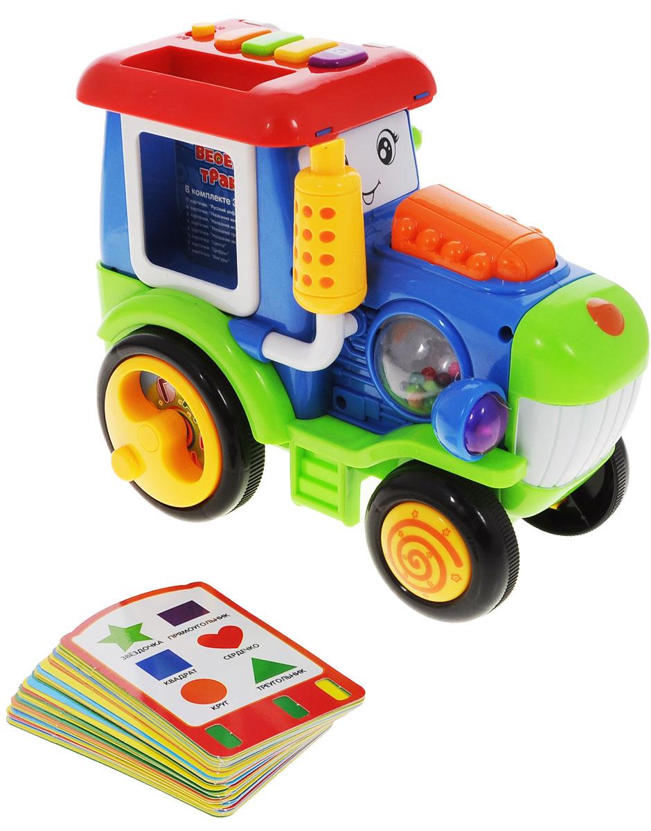 Zhorya Обучающая игрушка Веселый тракторХ75381С помощью обучающей игрушки Zhorya Веселый трактор малыш сможет выучить русский алфавит, названия животных, морских обитателей, транспорта, инструментов, фигуры, цифры и цвета. Трактор имеет несколько разноцветных кнопочек, при нажатии на которые прозвучат забавные фразы и звуки, веселые песенки. Умный трактор говорит и поет, мигает огоньками, превращая процесс обучения в настоящий праздник. В комплекте с игрушкой 37 обучающих карточек. Просто вставьте их в трактор и веселье начнется! Для работы игрушки необходимо приобрести 3 батарейки напряжением 1,5V типа АА (не входят в комплект).