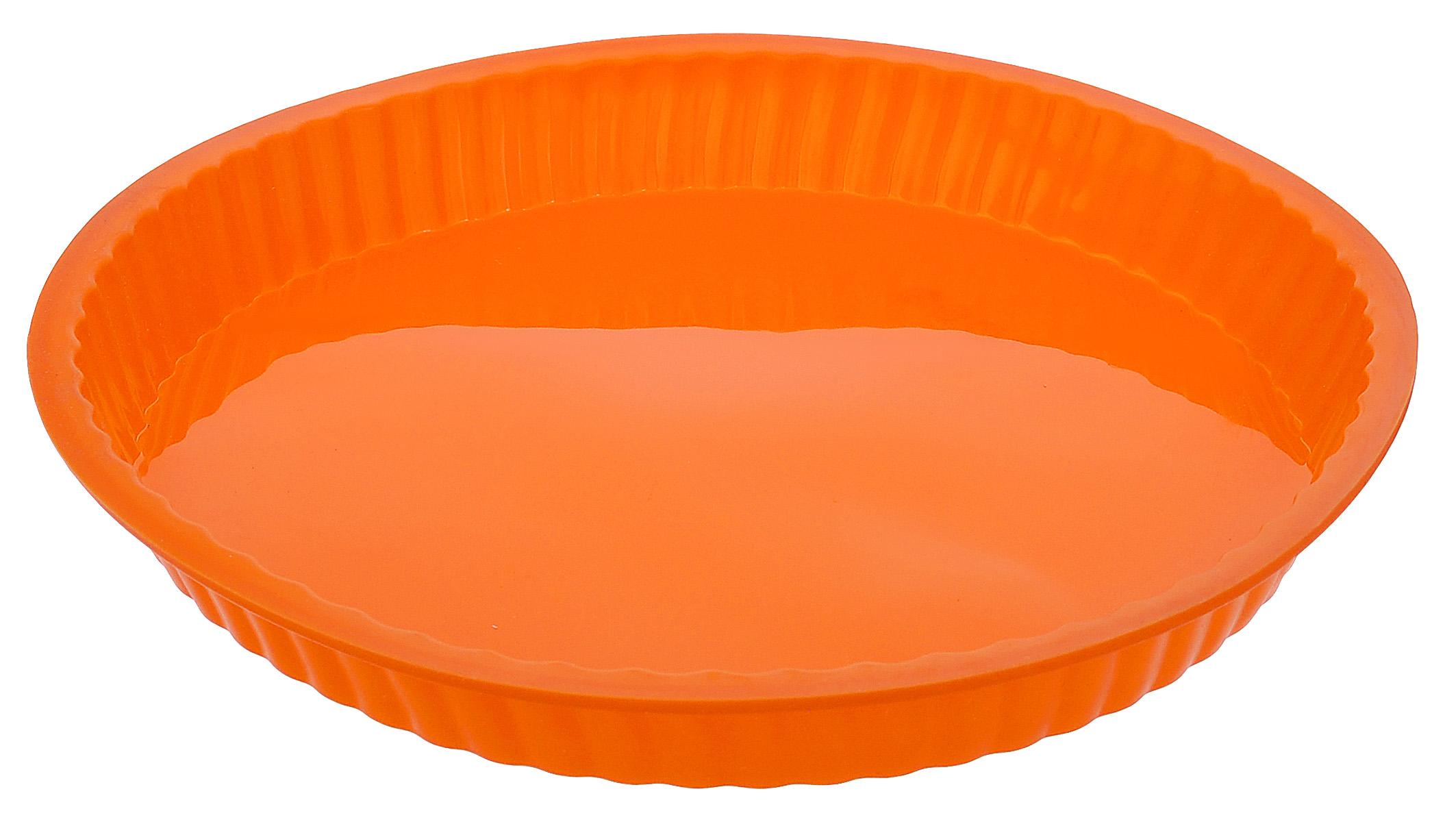 Форма для выпечки Taller, цвет: оранжевый, диаметр 26 смTR-6203_оранжевыйКруглая форма для выпечки Taller изготовлена из силикона - материала, который выдерживает температуру от -20°С до +220°С. Изделия из силикона очень удобны в использовании: пища в них не пригорает и не прилипает к стенкам, форма легко моется. Приготовленное блюдо можно очень просто вытащить, просто перевернув форму, при этом внешний вид блюда не нарушится. Изделие обладает эластичными свойствами: складывается без изломов, восстанавливает свою первоначальную форму. Порадуйте своих родных и близких любимой выпечкой в необычном исполнении. Подходит для приготовления в микроволновой печи и духовом шкафу при нагревании до +220°С; для замораживания до -20°С и чистки в посудомоечной машине. Диаметр формы (по внутреннему краю): 24 см. Высота стенок: 3 см.