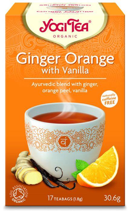 Yogi Tea Ginger Orange with Vanilla травяной чай в пакетиках, 17 шт482004Аюрведическая чайная смесь Yogi Tea Ginger Orange with Vanilla с имбирём, кожурой апельсина и ванилью. Пряный имбирь и сладкий апельсин придают этому чаю великолепный солнечный вкус, и приводит в хорошее расположение духа, как яркий и цветущий солнечный день. Имбирь придаёт пикантность и даёт жизненную силу. Сочетание сладкой солодки, фруктового привкуса апельсина и ванили создаёт впечатление, что лето вернулось. Девиз этого чая: Солнечный свет и добросердечность, Будь милым, понимающим и сердобольным. Весь мир будет у тебя в друзьях. Мы, люди, являемся целостными существами - с телом, разумом и душой. Для хорошего самочувствия нам необходимо осознанно относиться к питанию, заниматься физическими упражнениями для поддержки нашего тела, а также заботиться о духовном наполнении нашего разума и души. Yogi Tea дарит вдохновение с каждой чашкой чая. С помощью мудрых афоризмов на каждом чайном ярлычке и вдохновляющих йога упражнений на каждой...