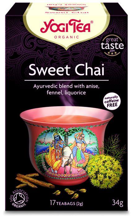 Yogi Tea Sweet Chai травяной чай в пакетиках, 17 шт450104Аюрведическая чайная смесь Yogi Tea Sweet Chai с анисом, фенхелем и солодкой. Влюбитесь в натуральную пряную сладость Yogi Tea. Анис, фенхель, солодка и гвоздика создают деликатный и в то же время интригующий аромат. Для того чтобы твёрдо стоять на земле и быть в ладу со своей душой нам нужна сладость, так сладость представляет землю. Присядьте и насладитесь чашечкой Yogi Tea Sweet Chai. Девиз этого чая: Пусти корни!, Потребуется море любви, чтобы воздать животным за всё хорошее, что они сделали для нас. Мы, люди, являемся целостными существами - с телом, разумом и душой. Для хорошего самочувствия нам необходимо осознанно относиться к питанию, заниматься физическими упражнениями для поддержки нашего тела, а также заботиться о духовном наполнении нашего разума и души. Yogi Tea дарит вдохновение с каждой чашкой чая. С помощью мудрых афоризмов на каждом чайном ярлычке и вдохновляющих йога упражнений на каждой упаковке, мы приглашаем вас...