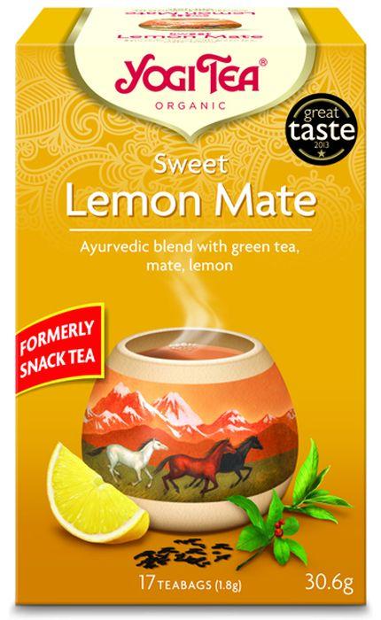 Yogi Tea Sweet Lemon Mate травяной чай в пакетиках, 17 шт411004Аюрведическая чайная смесь Yogi Tea Sweet Lemon Mate с зелёным чаем, мате и лимоном. Придающий силы мате в сочетании с зелёным чаем и пряными ягодами лимонника китайского вызывают чувство удовлетворения в стрессовых ситуациях, когда о еде не может быть и речи. А лимон, освежающая перечная мята и эстрагон придают этой чайной смеси великолепный вкус. Девиз этого чая: Выносливость и несгибаемость, Каждый счастливый момент – часть других счастливых моментов. Мы, люди, являемся целостными существами - с телом, разумом и душой. Для хорошего самочувствия нам необходимо осознанно относиться к питанию, заниматься физическими упражнениями для поддержки нашего тела, а также заботиться о духовном наполнении нашего разума и души. Yogi Tea дарит вдохновение с каждой чашкой чая. С помощью мудрых афоризмов на каждом чайном ярлычке и вдохновляющих йога упражнений на каждой упаковке, мы приглашаем вас обрести баланс вашего тела, души и духа, в то время как вы ...