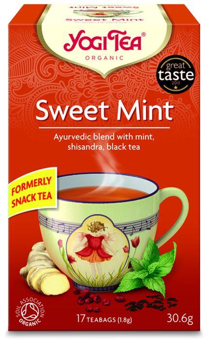 Yogi Tea Sweet Mint травяной чай в пакетиках, 17 шт410904Аюрведическая чайная смесь Yogi Tea Sweet Mint с мятой, лимонником китайским и чёрным чаем. Ароматная перечная мята смешана с чёрным чаем Ассам, имбирём, гвоздикой и сладкой корицей. Противоположности притягиваются. Пряные ягоды лимонника китайского с лёгкой фруктовой ноткой ласкают чувства и делают эту великолепную чайную смесь завершённой. Девиз этого чая: Беззаботный и сосредоточенный, Забудь прошлое, направь внимание на другое, обратись к будущему. Мы, люди, являемся целостными существами - с телом, разумом и душой. Для хорошего самочувствия нам необходимо осознанно относиться к питанию, заниматься физическими упражнениями для поддержки нашего тела, а также заботиться о духовном наполнении нашего разума и души. Yogi Tea дарит вдохновение с каждой чашкой чая. С помощью мудрых афоризмов на каждом чайном ярлычке и вдохновляющих йога упражнений на каждой упаковке, мы приглашаем вас обрести баланс вашего тела, души и духа, в то время как вы ...