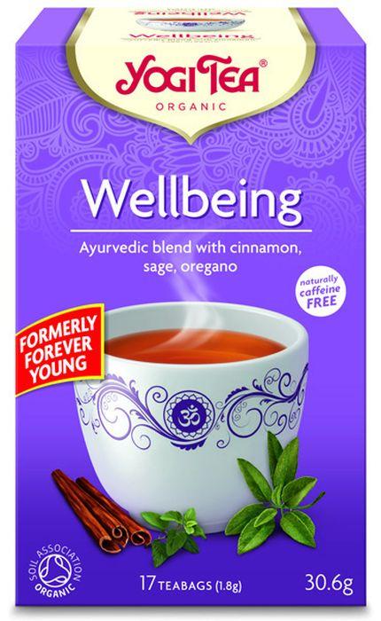 Yogi Tea Wellbeing травяной чай в пакетиках, 17 шт481404Аюрведическая чайная смесь Yogi Tea Wellbeing с корицей, шалфеем, душицей. Yogi Tea Хорошее самочувствие с ароматным шалфеем и согревающей корицей напоминает о древних средиземноморских традициях наслаждения чаем из шалфея. Чай обогащён сорго лимонным и солодкой. Хорошее самочувствие и умение найти время для себя – целое искусство. Расслабьтесь и насладитесь чашечкой Yogi Tea Хорошее самочувствие, не забывайте, что вы должны быть добры к самому себе. Девиз этого чая: Найди время для себя, Будь добр к самому себе. Быть счастливым – право, данное тебе по рождению. Мы, люди, являемся целостными существами - с телом, разумом и душой. Для хорошего самочувствия нам необходимо осознанно относиться к питанию, заниматься физическими упражнениями для поддержки нашего тела, а также заботиться о духовном наполнении нашего разума и души. Yogi Tea дарит вдохновение с каждой чашкой чая. С помощью мудрых афоризмов на каждом чайном ярлычке и вдохновляющих...