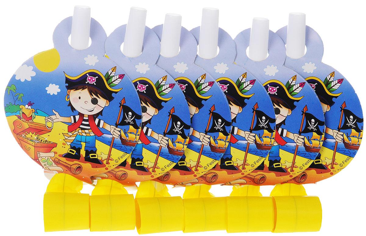Веселая затея Язык-гудок Маленький пират, с карточкой, 6 шт1501-1909Гудок при использовании разворачивает длинную часть из бумаги, издавая характерный громкий звук. Игрушка дополнена круглой карточкой с изображением маленького пирата и сокровищ. Красочные гудки с разворачивающимися язычками - это не просто источник веселого шума. По древним поверьям свистульки отпугивали злых духов и вызывали добрых. В языческие заклинания уже давно никто не верит, но почему бы не добавить элемент волшебства на своей вечеринке, раздав друзьям разноцветные языки-гудки. В комплекте 6 гудков.