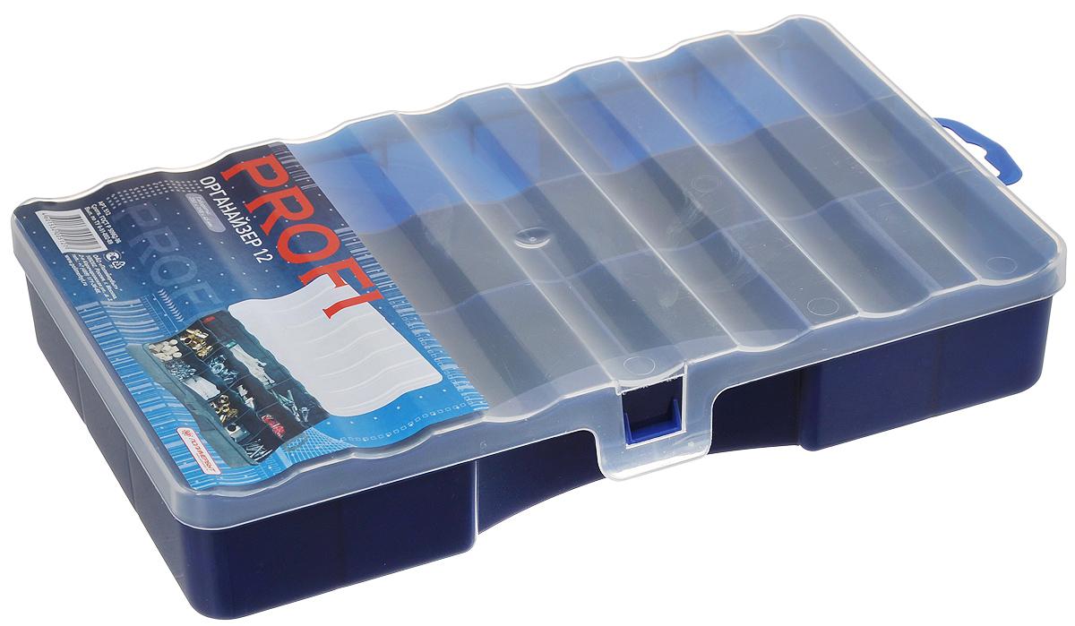 Органайзер Профи 12, цвет: темно-синий, прозрачный, 25 х 15,8 х 4,5 смС512_темно-синийОрганайзер Профи 12 выполнен из высококачественного пластика и предназначен для хранения различных мелочей. В органайзере имеется 12 ячеек, размер которых позволяет хранить в них различные бусины, мелочи для рукоделия, например, бисер, блестки, стразы и другое. Изделие плотно закрывает прозрачной крышкой с защелкой. С таким органайзером у вас всегда будет порядок на вашем рабочем столе.