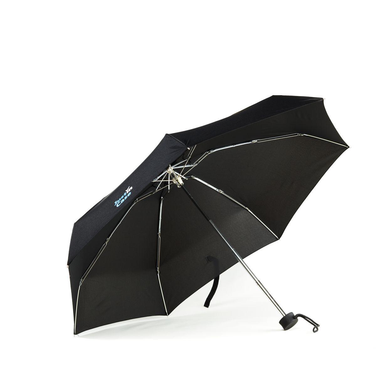 Зонт JustinCase, цвет: черный, диаметр 90 смG5042Легкий складной зонт JustinCase благодаря своим компактным размерам поместится в любой сумке и защитит от капризов погоды в любой точке мира! Конструкция выполнена из прочного металла, купол - высококачественный полиэстер. С зонтом JustinCase вам не страшен ни моросящий дождь в Лондоне, ни короткий бурный ливень в Таиланде. Подойдет и мужчинам, и женщинам, и детям – словом, каждому члену семьи. В комплекте чехол для хранения и переноски. Размер в сложенном виде: 17 см х 5,5 см х 5,5 см.