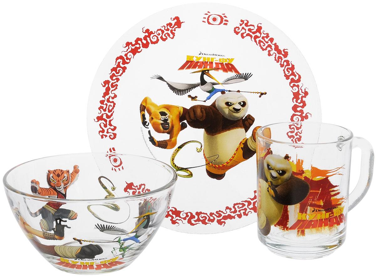 Dream Works Набор посуды Панда Кунг-Фу, 3 предмета11132693Красочный набор посуды Панда Кунг-Фу выполненный из качественного стекла, идеально подойдет для повседневного использования. В комплект входят: тарелка диаметром 19,5 см, салатник диаметром 12,5 см и кружка объемом 250 мл. Все предметы выполнены в оригинальном дизайне с изображением героев из мультфильма Панда Кунг-Фу. Набор упакован в коробку из плотного картона. Набор посуды непременно доставит массу удовольствия своему обладателю.