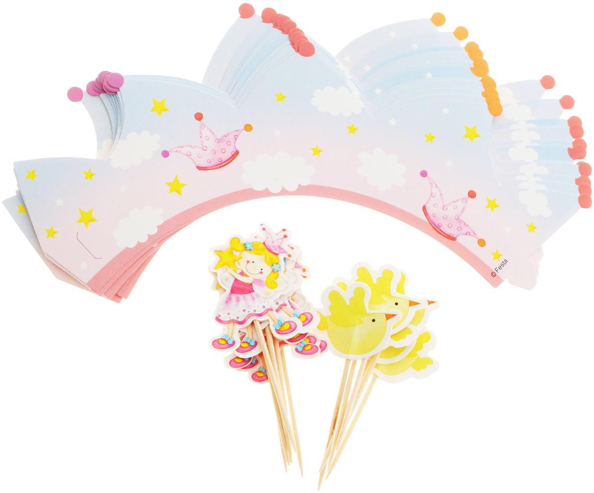 Веселая затея Украшения для кексов Звездная Фея, 24 шт1502-1362Украсьте кексы на день рождения юной феи красочными обертками из плотной бумаги с птичками, звездами и облаками! В набор входят 12 праздничных лент-оберток, а также 6 пик для украшения маффинов с феей и 6 пик с птичкой. Вы также можете использовать пики отдельно как шпажки для канапе. Лента-обертка имеет бумажный выступ-язычок с одной стороны и прорезь с другой стороны, которые помогут легко скрепить концы ленты между собой.