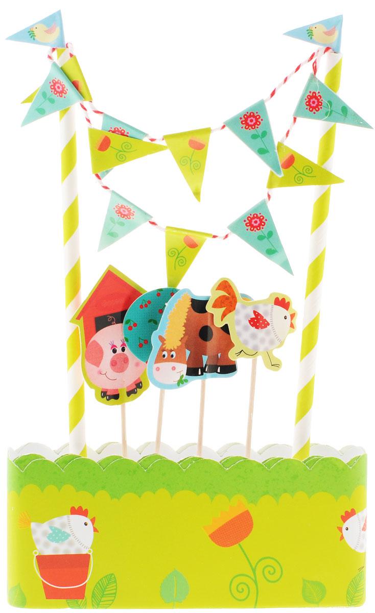 Веселая затея Декор-комплект для украшения торта Забавная ферма1502-1353Так хочется, чтобы на день рождения торт был испечен своими руками! А украсить его быстро и эффектно поможет декор-комплект в стиле кантри с курочками, лошадками и свинками, фруктовыми деревьями и луговыми цветами! В комплект входит 1 метр кондитерской ленты высотой 5,5 см, которой вы можете обернуть коржи; 2 разноцветных стойки с гирляндой-флажками, которые можно установить на торт; 4 пики с хрюшкой, курочкой, лошадкой и вишневым деревом. Одного метра ленты хватает для тортов диаметром до 30 см. Декор-комплект сделает любой торт праздничным без применения дополнительных сладких украшений, а значит, абсолютно полезным и безопасным для малышей и ваших гостей!