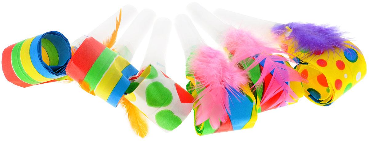 Веселая затея Язык-гудок, с пером, 6 шт1501-0378Гудок, дополненный яркими перьями, при использовании разворачивает длинную часть из бумаги, издавая характерный громкий звук. Красочные гудки с разворачивающимися язычками - это не просто источник веселого шума. По древним поверьям свистульки отпугивали злых духов и вызывали добрых. В языческие заклинания уже давно никто не верит, но почему бы не добавить элемент волшебства на своей вечеринке, раздав друзьям разноцветные языки-гудки. В комплекте 6 гудков.