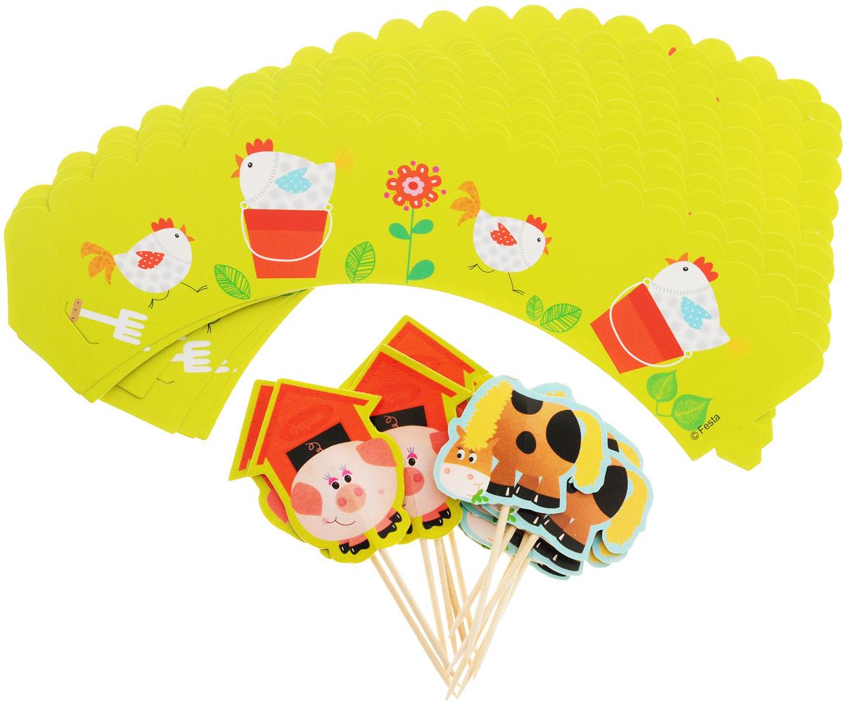 Веселая затея Украшения для кексов Забавная ферма, 24 шт1502-1361Украсьте праздничные кексы обертками в деревенском стиле из плотной бумаги с шустрыми курочками! В набор входят 12 лент-оберток для кексов с курочками, а также 6 пик для украшения маффинов с поросенком и 6 пик с лошадкой. Вы также можете использовать пики отдельно как шпажки для канапе. Лента-обертка имеет бумажный выступ-язычок с одной стороны и прорезь с другой стороны, которые помогут легко скрепить концы ленты между собой.