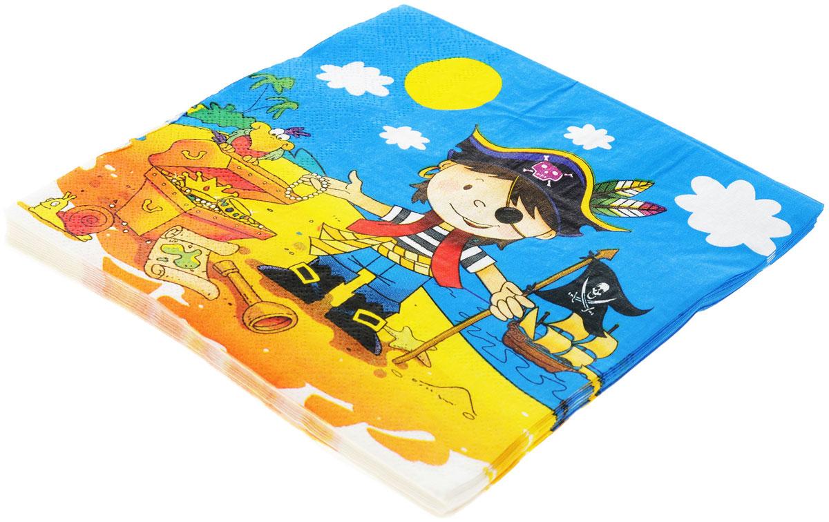 Веселая затея Салфетки Маленький пират, трехслойные, 12 шт1502-1284Трехслойные бумажные салфетки Маленький пират с красочным рисунком, станут отличным дополнением детского праздничного стола. Необитаемый остров с сокровищами Флинта - мечта каждого пирата! А если еще и клад оказался нетронутым! На море штиль и светит солнце, счастливый пират стоит у открытого сундука с сокровищами! Идеальный сюжет для пиратской вечеринки! В упаковке 12 ярких трехслойных салфеток.
