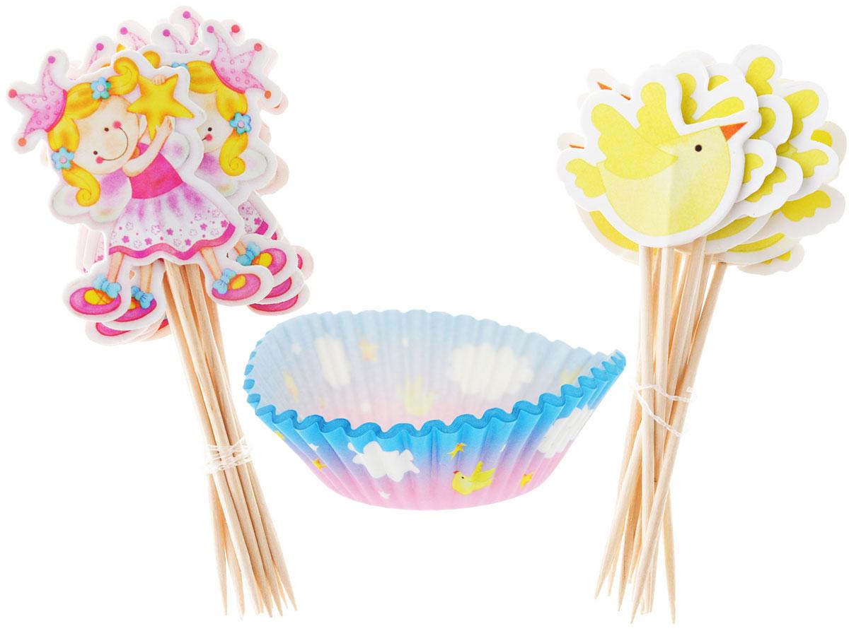 Веселая затея Тарталетки и Украшения для выпечки Звездная Фея, 48 шт1502-1358Украсьте день рождения юной феи тарталетками с птичками, звездами и облаками! В набор входят 24 праздничные тарталетки, 12 пик для украшения маффинов с птичкой и 12 пик с феей. Вы также можете использовать пики отдельно как шпажки для канапе. Бумажные тарталетки можно использовать для упаковки или для непосредственной выпечки кексов. Чтобы приготовить угощения в тарталетках, вы можете предварительно поставить их в поддерживающую силиконовую или металлическую форму, заполнить тестом и выпекать кексы. Второй вариант использования - поставить в тарталетки уже готовую выпечку, монпасье, сухофрукты, орешки и другие сладости. Тарталетки не обязательно заполнять сладким, с таким же успехом можно насыпать в них алмазы и рубины, пиастры и дублоны!