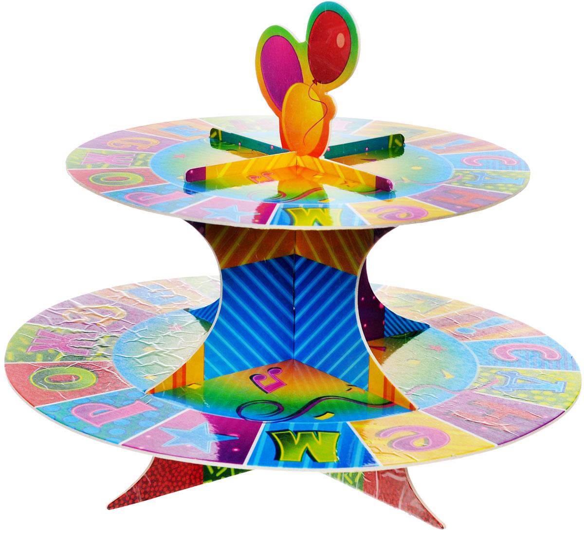 Веселая затея Стойка для кексов С днем рождения: Мозаика, 2 яруса1502-1368Стойка для кексов Веселая затея С днем рождения: Мозаика - это удобная, изящная подставка для праздничного угощения. Стойка украшена красочным мозаичным изображением с надписью С днем рождения!. Она легко собирается, не требует склеивания. Для экономии места упакована в разобранном виде в пакете. Двухъярусная стойка позволяет осуществить красивую выкладку кексов. Стойка для кексов Веселая затея С днем рождения: Мозаика станет настоящим украшением праздничного стола! Высота стойки в собранном виде - 21 см, диаметр нижнего яруса - 25,5 см, диаметр верхнего яруса - 20 см.