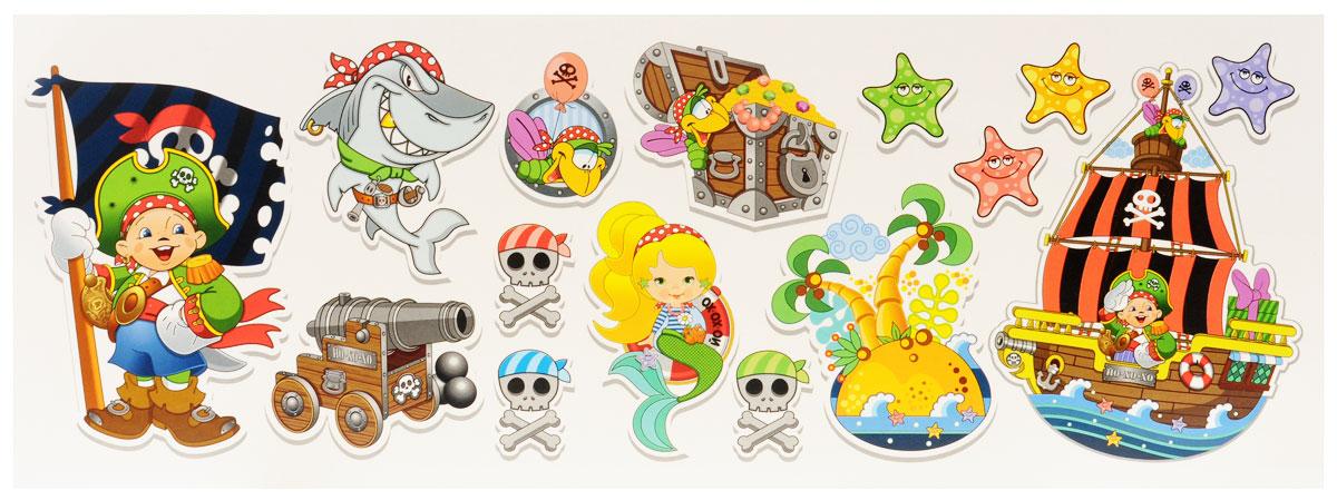 Веселая затея Баннер-комплект Пират Йо-хо-хо, 15 шт1505-0744Баннер-комплект Веселая затея Пират Йо-хо-хо станет отличным украшением праздника. В комплект входит баннер с изображением маленького пирата (36 см х 24 см), пиратского корабля (31 см х 24 см), острова сокровищ (23 см х 18 см), попугая в иллюминаторе (17 см х 13,5 см), пушки (18 см х 14 см), акулы (21 см х 18 см), сундука с сокровищами (18 см х 13 см), русалки (30 см х 17,5 см), черепа с костями (13 см х 9,5 см) 3 шт., морской звезды (9 см х 9 см) 4 шт., а также клеевая полоска. Благодаря клеевой полоске баннеры легко крепятся к любой ровной поверхности без дополнительного использования скотча или клея.
