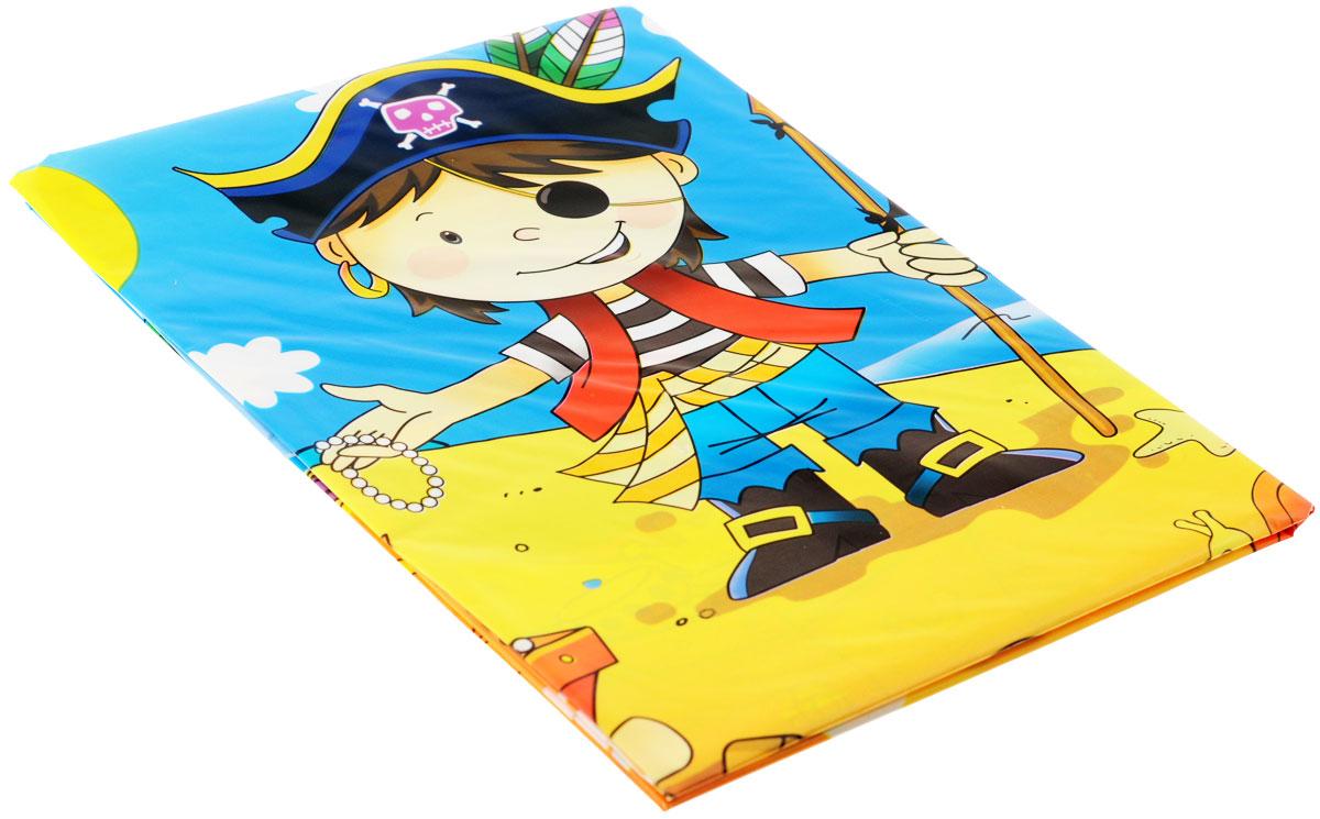 Веселая затея Скатерть Маленький пират, 130 см х 180 см1502-1288Скатерть Маленький пират органично впишется в интерьер кухни, или детской, а яркий рисунок обязательно понравится вашему ребенку. Изделие очень практичное, так как выполнено из полиэтилена. Скатерть с юным пиратом, нашедшим сокровища Флинта. Штиль на море, пальмы, солнце, шхуна у берега и надо всем этим развевается Веселый Роджер. Пиратская идиллия! Может использоваться как украшение стола, или по своему непосредственному назначению. Скатерть поможет создать атмосферу уюта и домашнего тепла в интерьере вашей кухни, а также станет настоящим украшением праздничного стола.