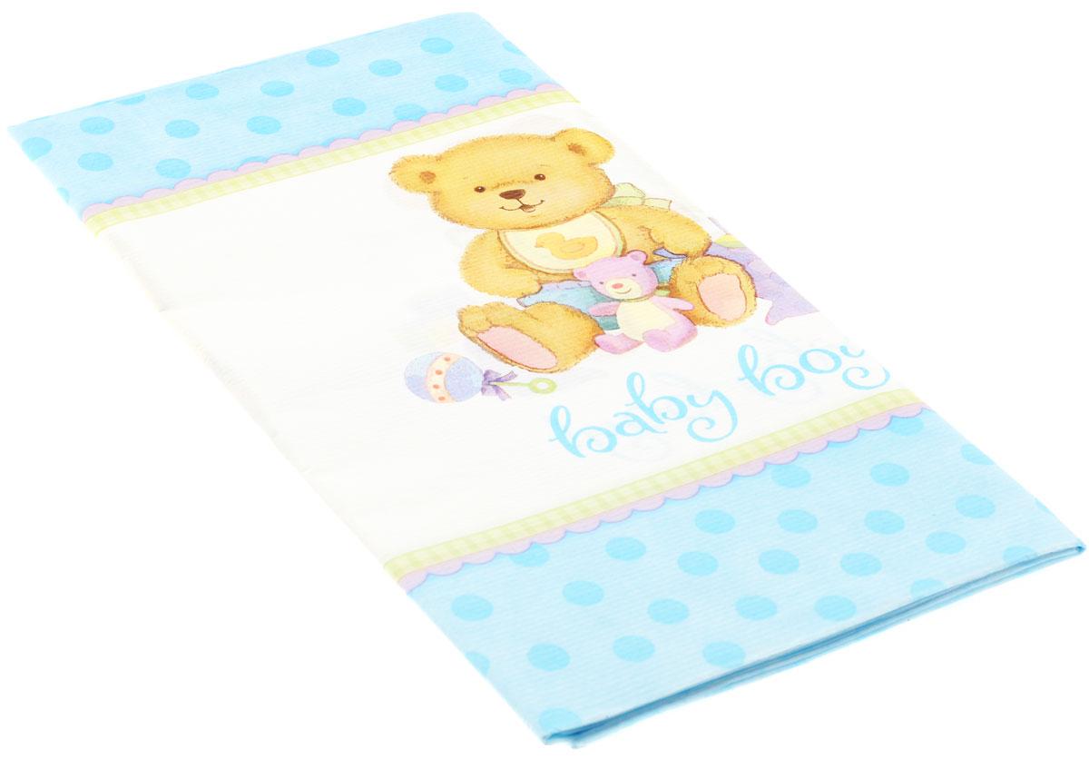 Веселая затея Скатерть Медвежонок Мальчик, 140 см х 260 см1502-1075Бумажная скатерть Медвежонок Мальчик для встречи новорожденного или празднования дня рождения малыша. Белая середина скатерти создана специально для того, чтобы на ней выделялась цветная посуда. На широкой канве скатерти расположился трогательный мишка с кубиками, погремушками и окантовкой в нежно-голубой горох. Скатерть поможет создать атмосферу уюта и домашнего тепла в интерьере вашей кухни, а также станет настоящим украшением праздничного стола.