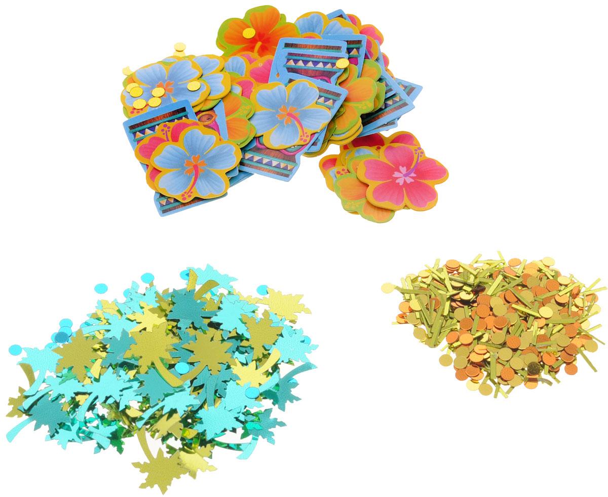 Веселая затея Конфетти Гаваи, 3 вида, 34 г1501-1344Разноцветное гавайское конфетти в трех дизайнах: золотые дождинки и кружки; пальмы и кружки; золотые кружки, идолы и цветы гибискуса. Яркое конфетти - неотъемлемый атрибут праздников, в основном, балов, карнавалов, триумфальных шествий, а также дней рождений и свадебных торжеств. Конфетти осыпают друг друга участники празднеств или его сбрасывают сверху. Конфетти, рассыпанное на столе, является необычной и привлекательной формой украшения праздничного застолья. Еще один оригинальный способ порадовать друзей и близких - насыпьте конфетти в конверт с открыткой - это будет неожиданный сюрприз! Также конфетти - прекрасный материал для рукоделия.