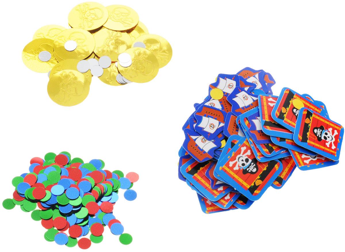 Веселая затея Конфетти Сокровище пиратов, 3 вида, 34 г1501-1506Разноцветное пиратское конфетти в трех дизайнах: цветные круги; золотые монеты с черепами и серебряные круги; бумажные пиратские корабли и сундуки с сокровищами. Яркое конфетти - неотъемлемый атрибут праздников, в основном, балов, карнавалов, триумфальных шествий, а также дней рождений и свадебных торжеств. Конфетти осыпают друг друга участники празднеств или его сбрасывают сверху. Конфетти, рассыпанное на столе, является необычной и привлекательной формой украшения праздничного застолья. Еще один оригинальный способ порадовать друзей и близких - насыпьте конфетти в конверт с открыткой - это будет неожиданный сюрприз! Также конфетти - прекрасный материал для рукоделия.