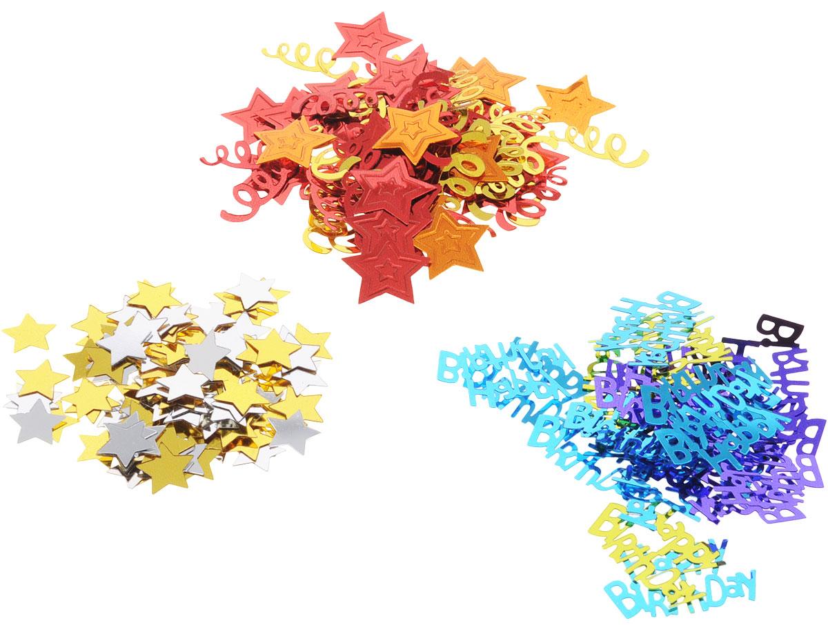 Веселая затея Конфетти Happy Birthday. Звезды, 3 вида, 34 г1501-1504Конфетти для именинника представлено в трех дизайнах: надпись Happy Birthday в золотых, фиолетовых и голубых вариантах; красные и апельсиновые звезды и серпантин; золотые и серебряные звездочки. Яркое конфетти - неотъемлемый атрибут праздников, в основном, балов, карнавалов, триумфальных шествий, а также дней рождений и свадебных торжеств. Конфетти осыпают друг друга участники празднеств или его сбрасывают сверху. Конфетти, рассыпанное на столе, является необычной и привлекательной формой украшения праздничного застолья. Еще один оригинальный способ порадовать друзей и близких - насыпьте конфетти в конверт с открыткой - это будет неожиданный сюрприз! Также конфетти - прекрасный материал для рукоделия.