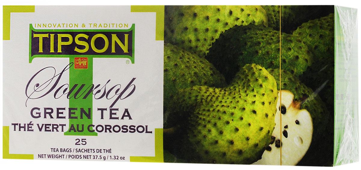 Tipson Soursop Green tea зеленый чай в пакетиках, 25 шт80025-00Чай зелёный цейлонский байховый мелколистовой Tipson Soursop с ароматом саусэпа в пакетиках с ярлычками для разовой заварки. Пленительный аромат фрукта саусэп вносит экзотическую ноту в насыщенный вкус зелёного чая, придавая ему выразительность и неповторимость. Этот замечательный напиток хорошо освежает летом и согревает зимой.
